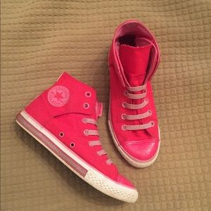 Girls Bright Pink Sparkle Toe Converse Chucks